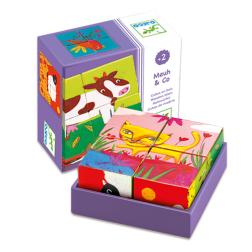 4 Cubes puzzle bois : Meuh & Co