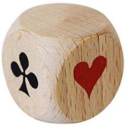 Belote : dé d'atout en bois