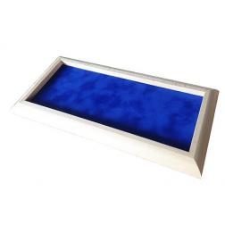 Piste à dés bord arrondie bois blanc tapis bleu