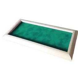 Piste à dés bord arrondie bois blanc tapis vert