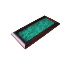 Piste à dés bord arrondie bois foncée tapis vert