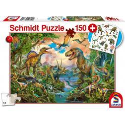 Puzzle 150 pièces + tatouages : Dinos