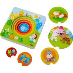 Puzzle en bois Bébés animaux multicolores 6 pièces