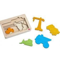 Puzzle en bois Véhicules de chantier 5 pièces