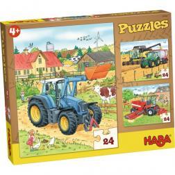 Puzzles Tracteur et Cie. 3 x 24 pièces